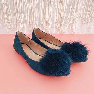 Old Navy Point Toe Pompom Faux Suede Flats